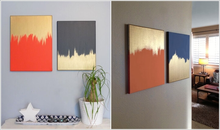 Beautiful Diy Canvas Art Part - 13: Paint A Canvas In Any Color You Like And Then Add Strokes Of Gold Paint