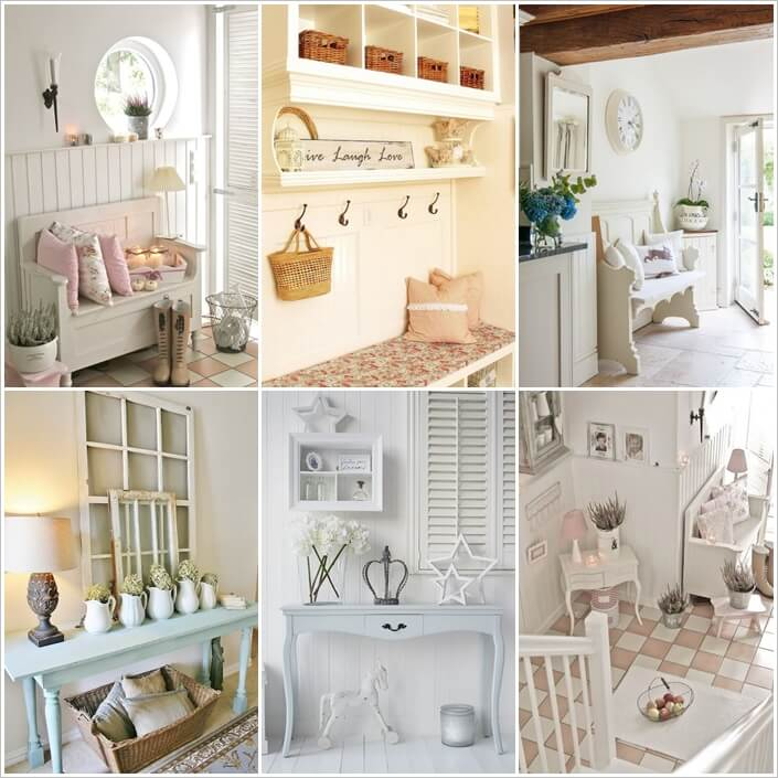 25 ways to design a shabby chic hallway. Black Bedroom Furniture Sets. Home Design Ideas