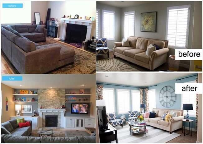 Inspiring Before And After Living Room Makeovers Dining Room Behind Couch  Dining Room Table Behind Couch
