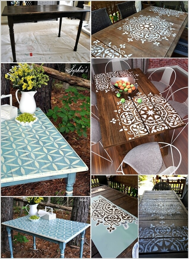 refresh your tables with stencil paint technique