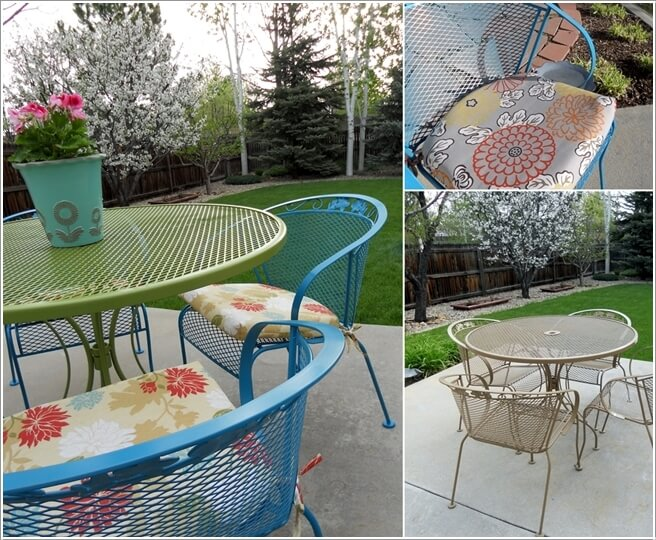 paint your old wrought iron furniture in contrasting colors and add new cushions to the seating