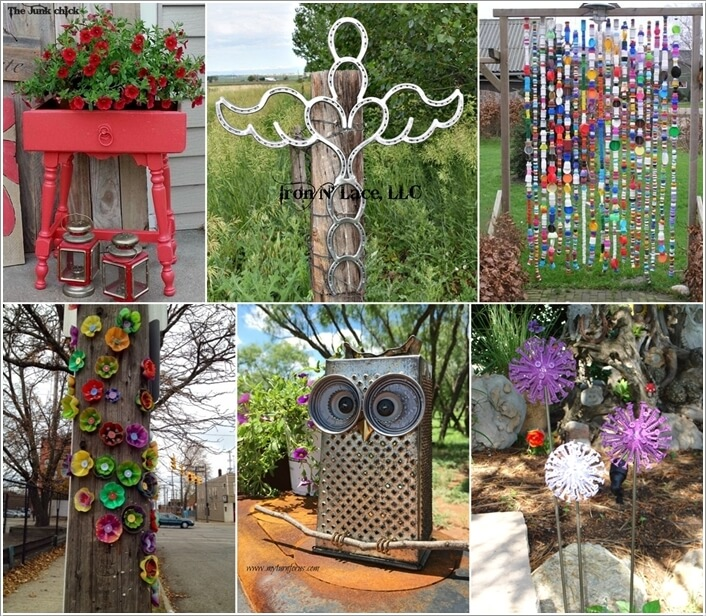 10 wonderful garden accents created from recycled materials - Garden Accents