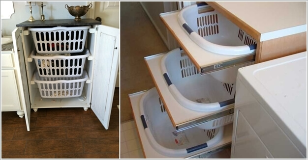 1. Create a Hamper Storage by Fixing Plastic Basket Drawers In a Dresser  Frame