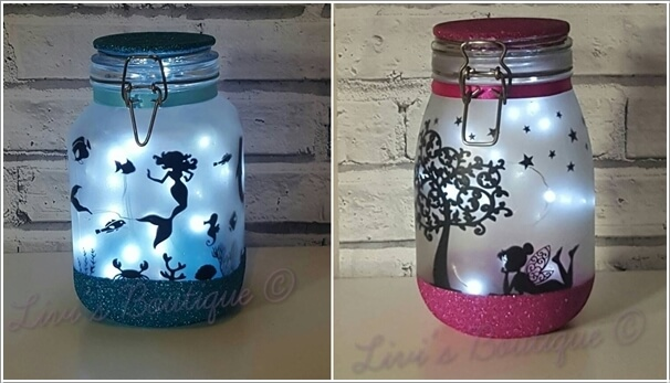 Decorate A Mason Jar With Glitter And Silhouettes And Put A String Of  Battery Operated LED Lights Inside