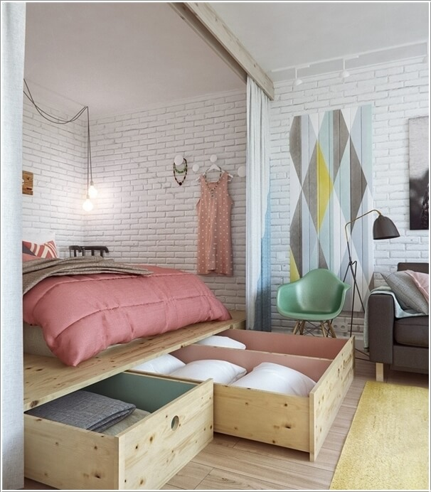 bedroom living room combo. 13  Build a Platform for The Bed and Outfit It with Drawers Storing Stuff Like Sheets Extra Pillows Clever Ways to Design Living Room Bedroom Combo