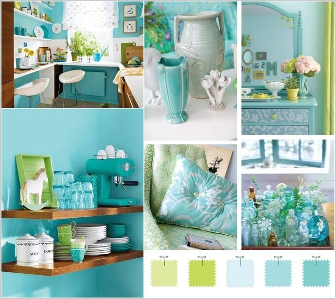 2 Aqua Lime Green And White
