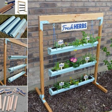 This Hanging Gutter Planter Stand is So Cool fi