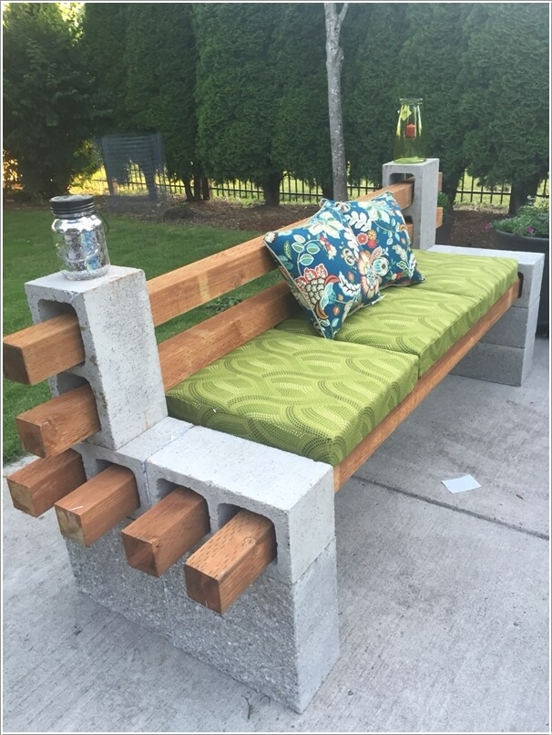Build A Sofa With Cinder Blocks And Square Logs