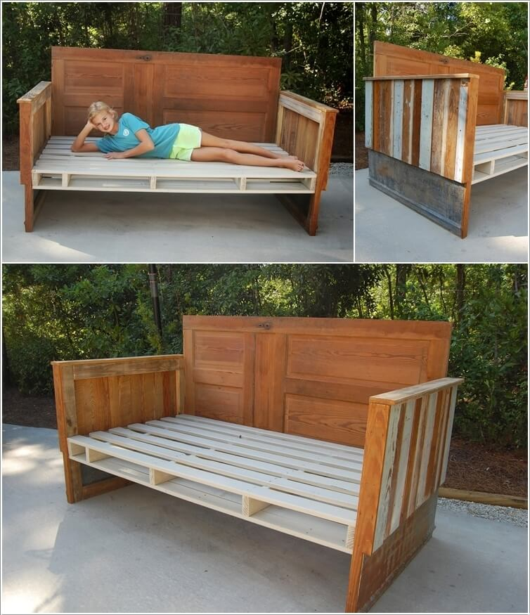 Create A Daybed Couch Created from Pallet Wood Old Boards and a Reclaimed Door & 10 Cool DIY Outdoor Couch Ideas