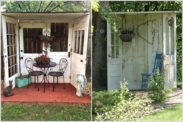 Using 4 Old Doors Build a Cute Little Garden Nook & 10 Creative Old Door Projects for Your Garden