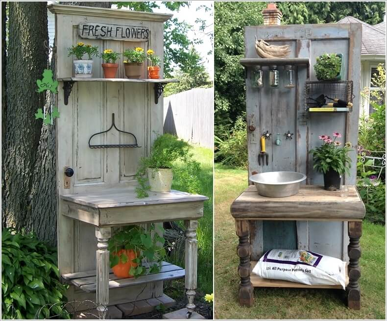 If Gardening is Your Favorite Hobby Then Build a Potting Bench from an Old Door : door projects - pezcame.com