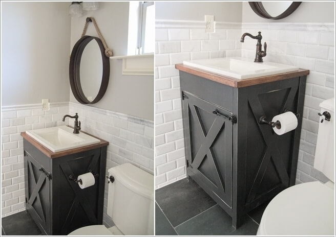 A Gorgeous Gray Vanity Built in Farmhouse Style with Storage That Can Fit  Inside a Small Bathroom Too