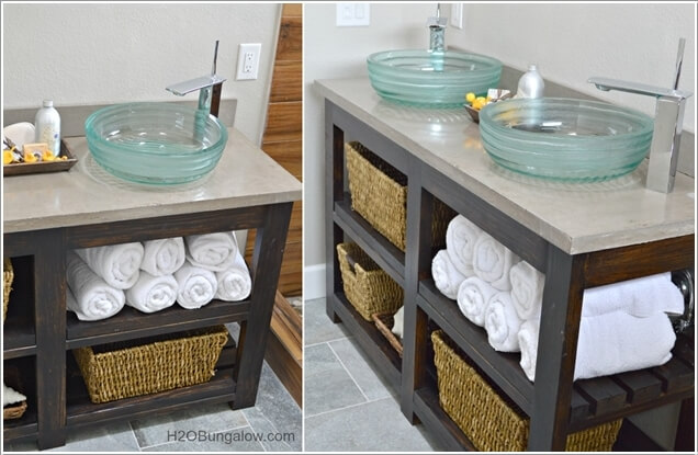 Make An Open Shelf Vanity With Wood And A Concrete Counter Top