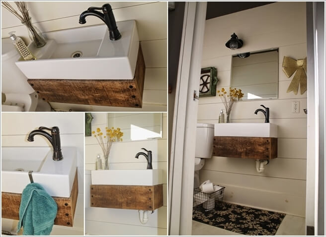 build a floating vanity by combining an ikea sink with reclaimed wood