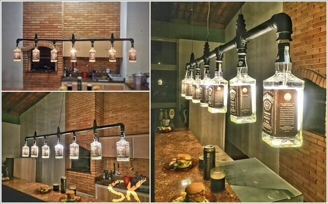 Home Bar Lighting Ideas. 1. A Chandelier Created From Whiskey Bottles And  Metal Pipe
