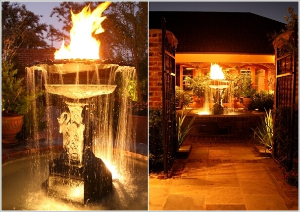 A Sculptural Water Fountain With Fire On Top