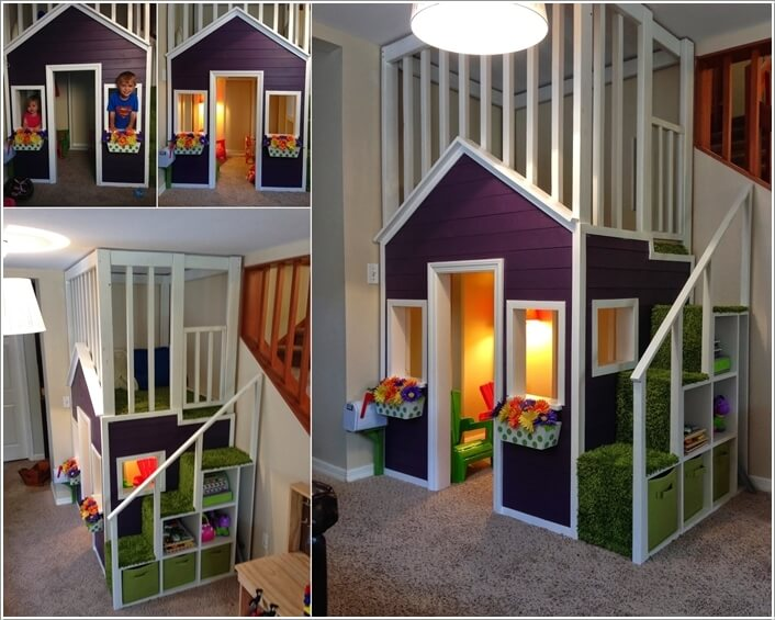 A Playhouse With A Loft, Storage Stairs And A Cute Cottage Like Outlook