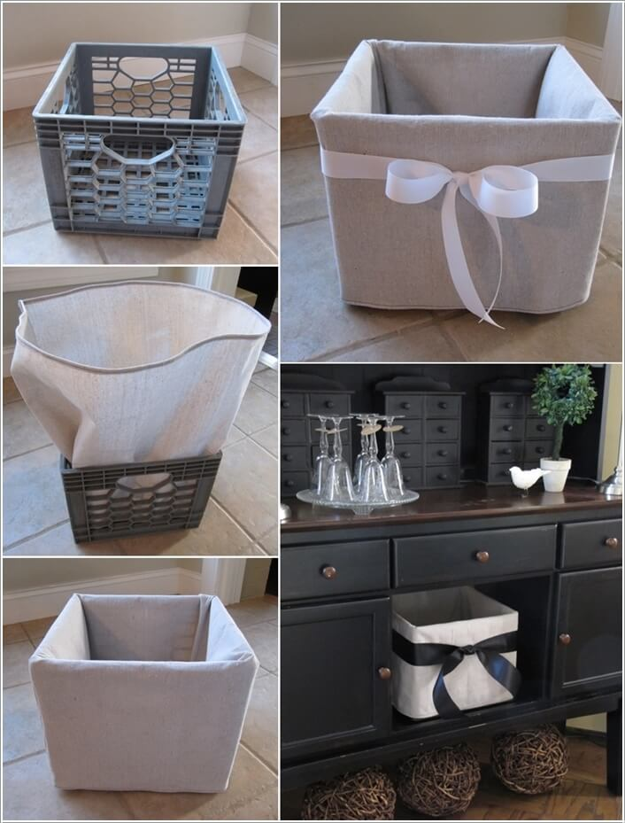Sew A Cover For Plastic Crate And Use It As Storage Bin
