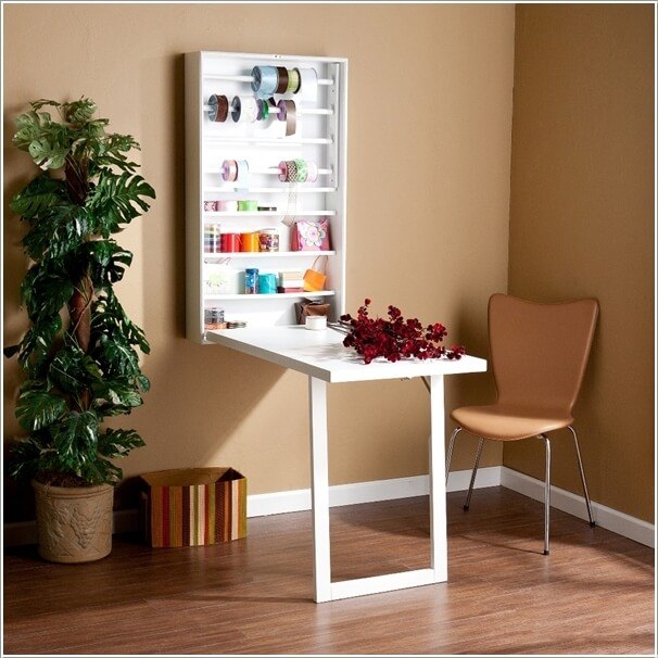 Install A Wall Mounted Desk That Has A Shallow Shelving Unit Too For  Storing Small Items