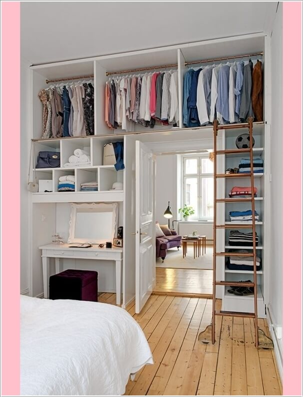 build a closet by utilizing the wall around your bedroom door - Clever Storage Ideas For Small Bedrooms
