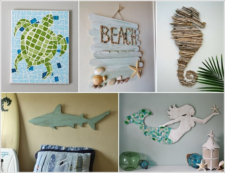 Arts And Crafts Wall Decor Ideas : Superb diy coastal wall art ideas