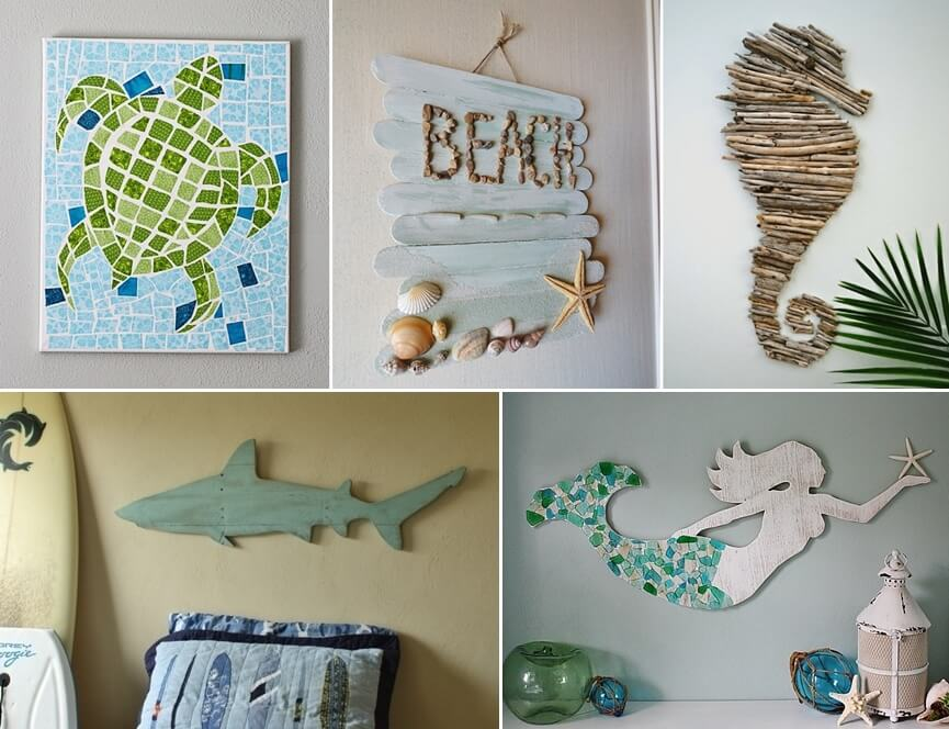 29 superb diy coastal wall art ideas for Coastal wall decor ideas