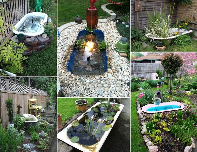A bathtub pond in your garden will be just great for Outdoor pond tub