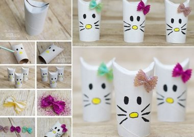 Make These Cute Hello Kitties from Paper Rolls fi