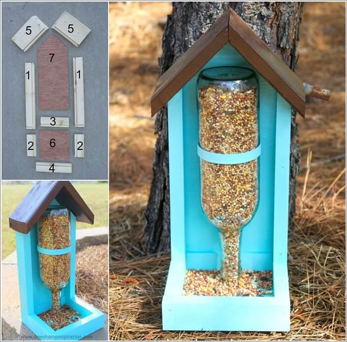 Make this wine bottle bird feeder for your garden - Bird feeder garden designs ...