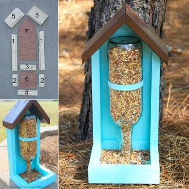 Make This Wine Bottle Bird Feeder for Your Garden fi