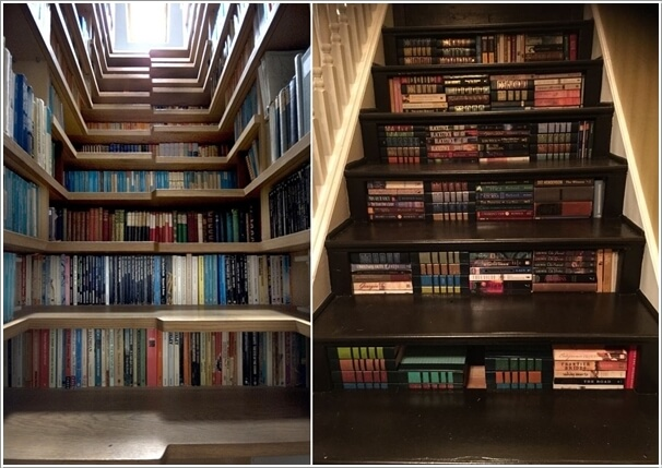 Let The Stair Risers be Shelves for Books