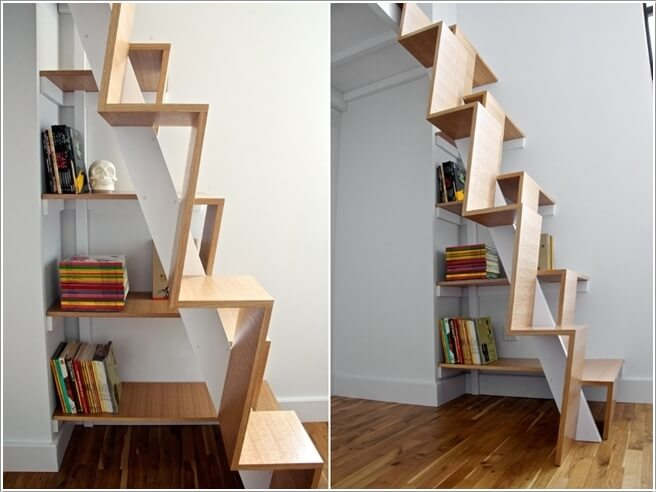 Integrate A Bookcase With Stairs In An Artistic Sculptural Design Like This  One