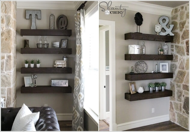 2. Build Floating Shelves With Wood And Display Knick Knacks