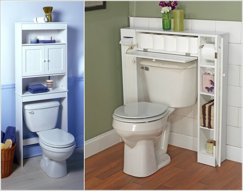 invest in an over toilet storage unit