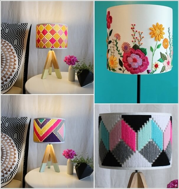 3. Give A Plain And Boring Lampshade A Whole New Look With Embroidery
