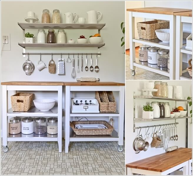 2 Add Casters To Two Small Island Tables Join Them Together And Install A Few Shelves On The Wall Above