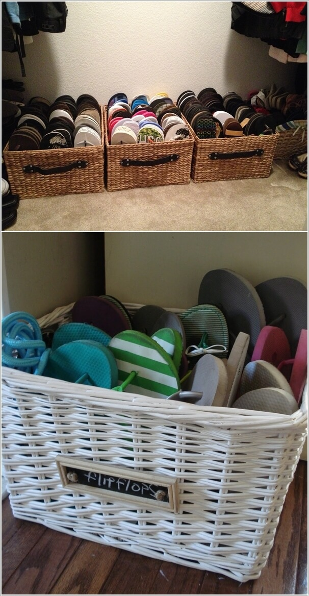 Re Purpose Wicker Baskets And Place Them On Floor Of Your Entryway
