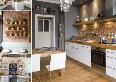 67 Amazing Kitchens with Exposed Brick Walls fi