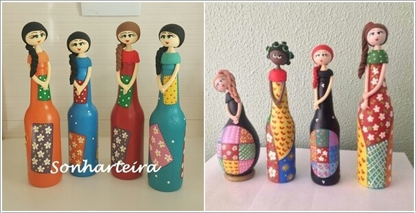 decorated glass bottles. Image via  sonharteira casa arte decor Creative Ways to Decorate Glass Bottles