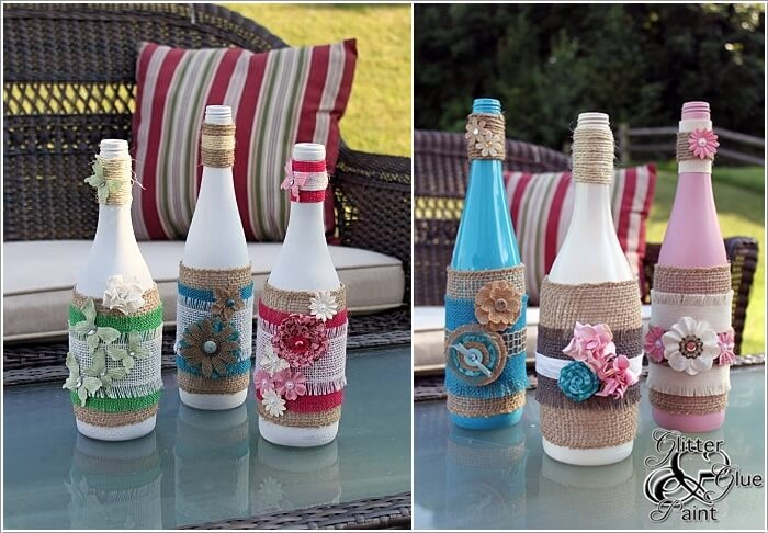 decorated glass bottles. First Paint The Bottles from Inside and Then Decorate with Burlap  Fabric Flowers by Using a Hot Glue Gun Creative Ways to Glass