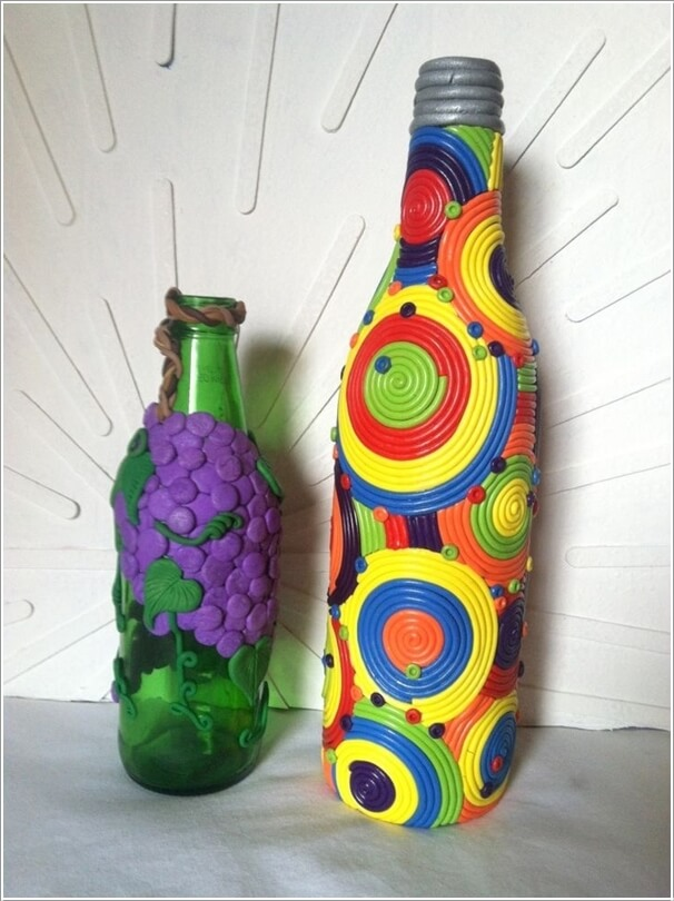 decorated glass bottles. Decorate The Bottles with Polymer Clay Creative Ways to Glass