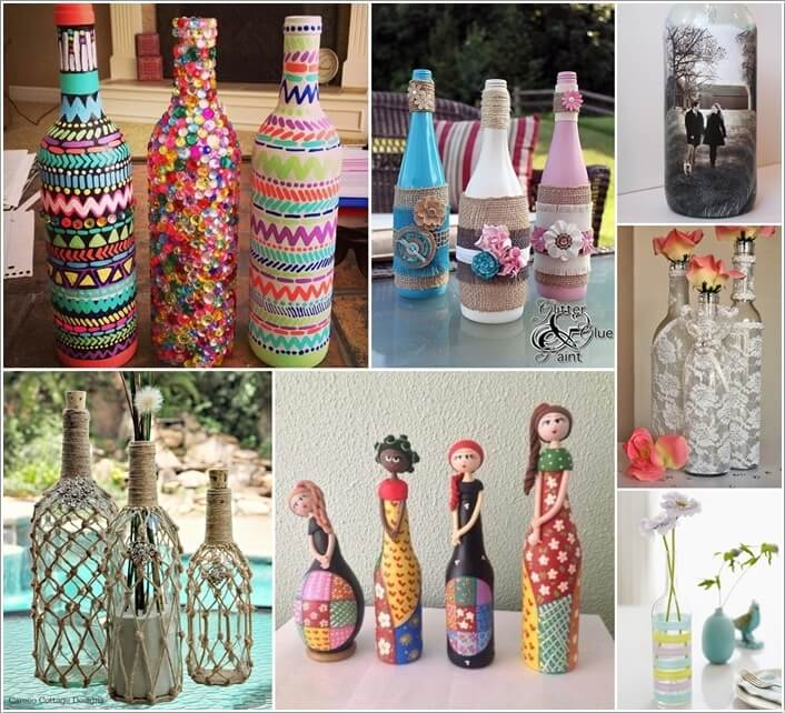Creative ways to decorate glass bottles for Empty bottle decoration ideas
