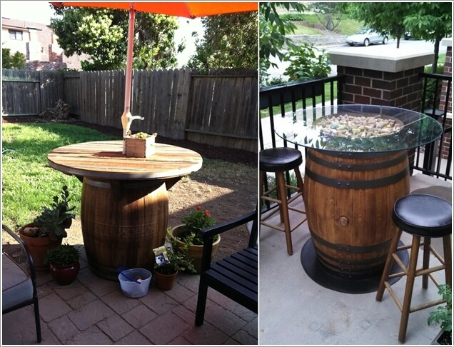 wine barrel outdoor furniture. Make A Wine Barrel Outdoor Table Either With Wood Or Glass Top Furniture