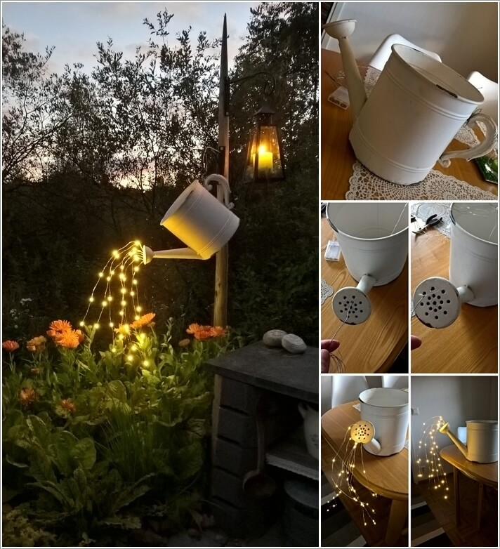 Rethink A Watering Can Pouring Out Les With String Lights