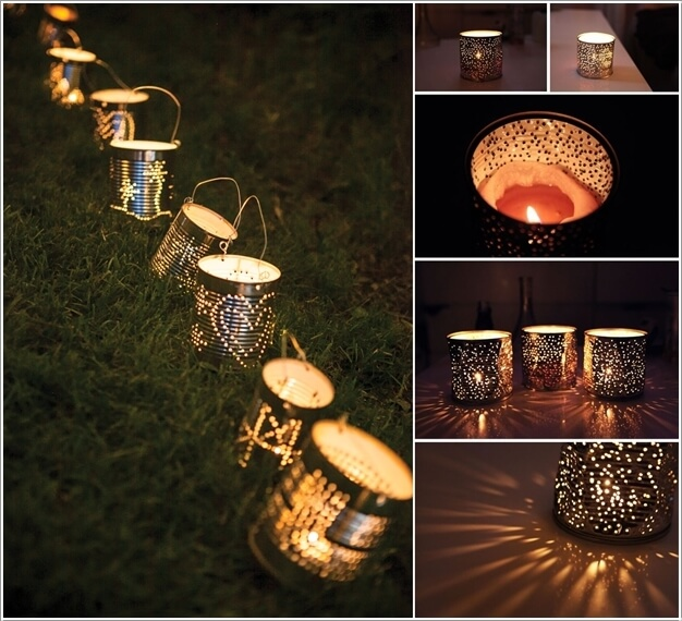 6. Recycle Tin Cans Into Garden Lamps