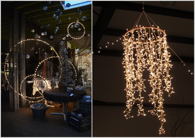 Light up your garden with these diy lighting projects make a lamp or a chandelier with hula hoops and string lights aloadofball Choice Image