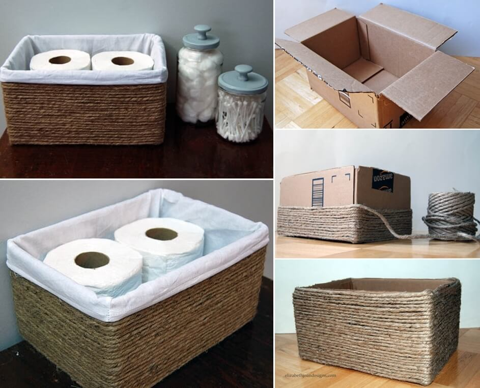 Make a storage basket from a cardboard box for Design in a box interior design