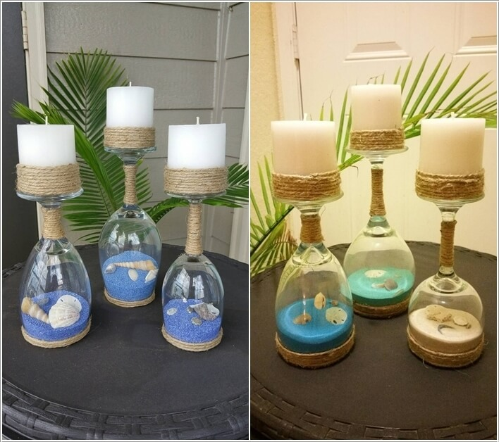Create Candle Holders with Wine Glasses, Twine, Real Sea Shells and Dyed  Sand