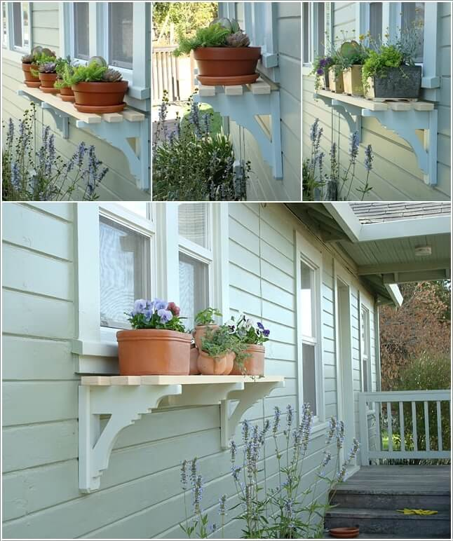 3. Add A Shelf To Your Exterior Window With Brackets For Displaying Planters
