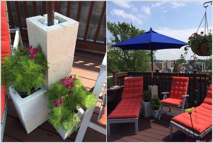 A DIY Cinder Block Planter Umbrella Stand Because Summer And Umbrellas Go  Hand In Hand